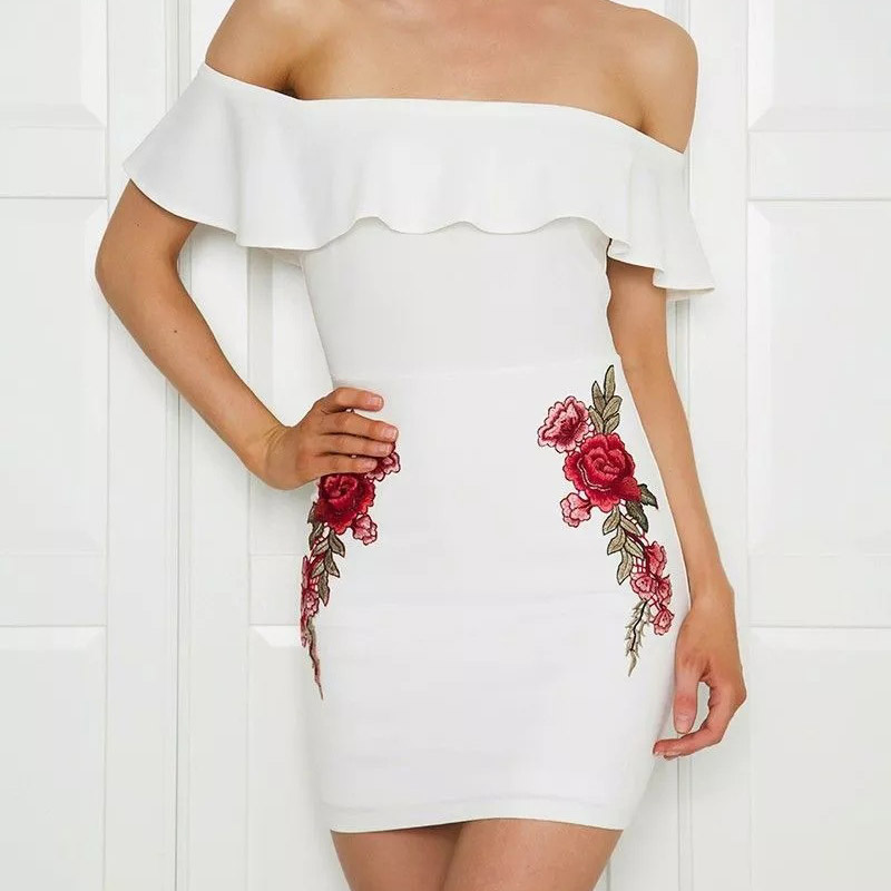 Women Sexy Off Shoulder Ruffle Slim Fit Dress Bodycon Rose Embroidery Party Mini Dresses H9