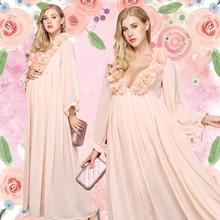 Új Nők Anyasági Fotó Props Terhesség Ruhák Anyasági Divat Tündér köntös rózsaszín ruhák a terhes fotózásra