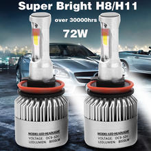 2PCS S2 COB H1 H3 H4 H7 H8/H11 9005 9006 H4-33SMD H8/H11-33SMD Auto Car Headlight 72W 8000LM Automobiles Fog Lamp 6500K Bulb(China)