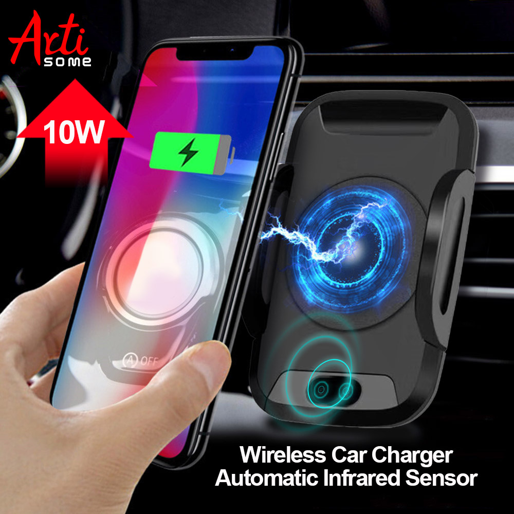Artisome Qi Wireless Car Charger For iPhone X 8 8 Plus Samsung S8 Automatic Infrared Sensor Fast Wireless Charging 10W Max
