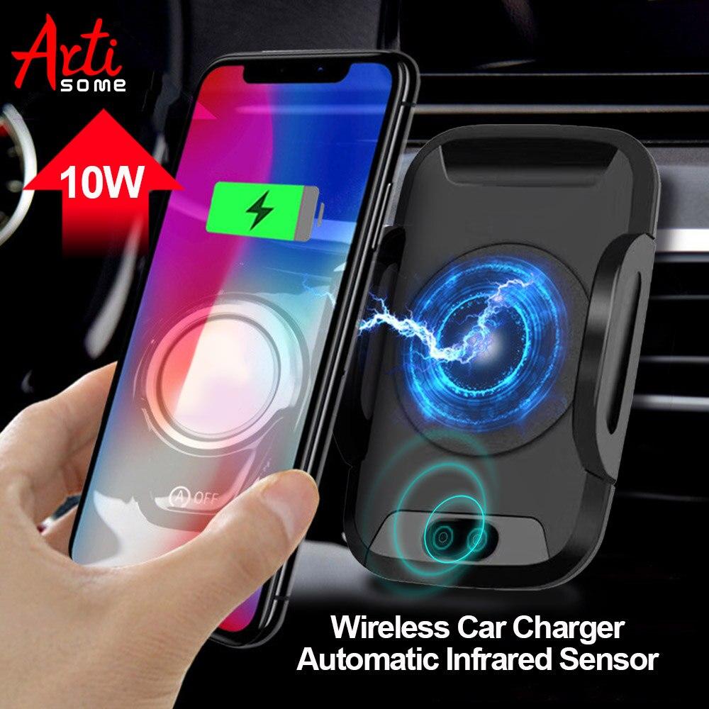 Qi Caricabatteria Da Auto Senza Fili Per il iphone X 8 8 Più di Samsung S8 S9 Pop Automatico del Sensore A Infrarossi Senza Fili Caricatore Prese supporto del telefono