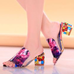 KemeKiss 2019 Brand Large Sizes 34-41 Colorful Rhinestone Crystals Heels Peep Toe Summer Women'S Shoes Woman Sandals Slippers 2