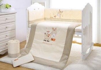 7PCS kit berço juego de cama baby bedding set crib bed set cartoon baby crib set (4bumper+duvet+sheet+pillow)