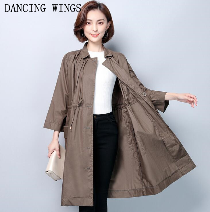 Plus Size 5XL Middle-aged Mother Spring Trench Coat Womens Fashion Drawstring Loose Large Size Long Windbreaker Coat