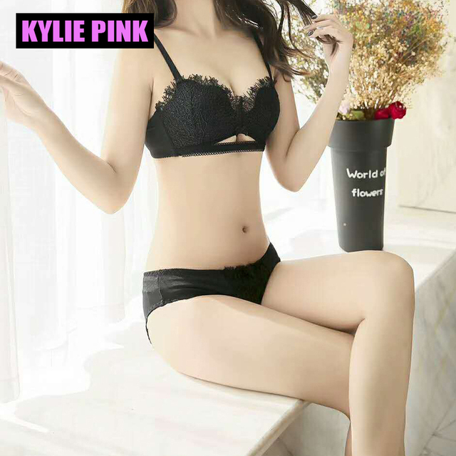 3078b6930fc7b KYLIE PINK New lace Seamless push up Bra set Adjustable Women girls Bra lace  deep V Underwear Brand Sujetador for small breast