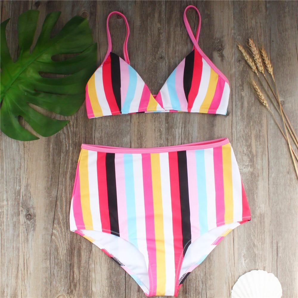 Rainbow Stripe High Waisted Halter Bikini 5