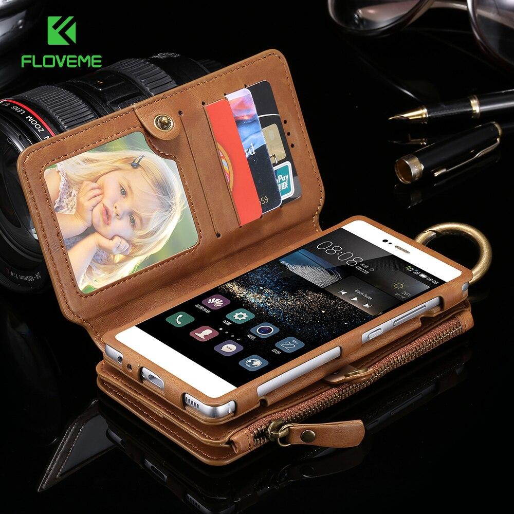 Floveme dobrado caso carteira de couro para huawei p9 p10 plus companheiro 9 titular do cartão casos de telefone para huawei ascend p10 capa bolsa