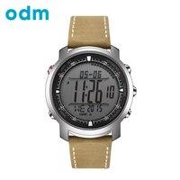 ODM мужская спорт Цифровые часы Часы С Натуральной Кожи Группа Работает часы Компас Термометр Погоды Цифровые Часы DM056 часы мужчин мужские ча