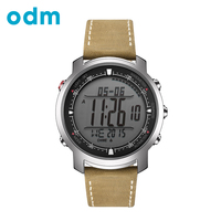 ODM Men's sport Digital watch Hours With Genuine Leather Band Running watches Compass Thermometer Weather Digital Watch DM056