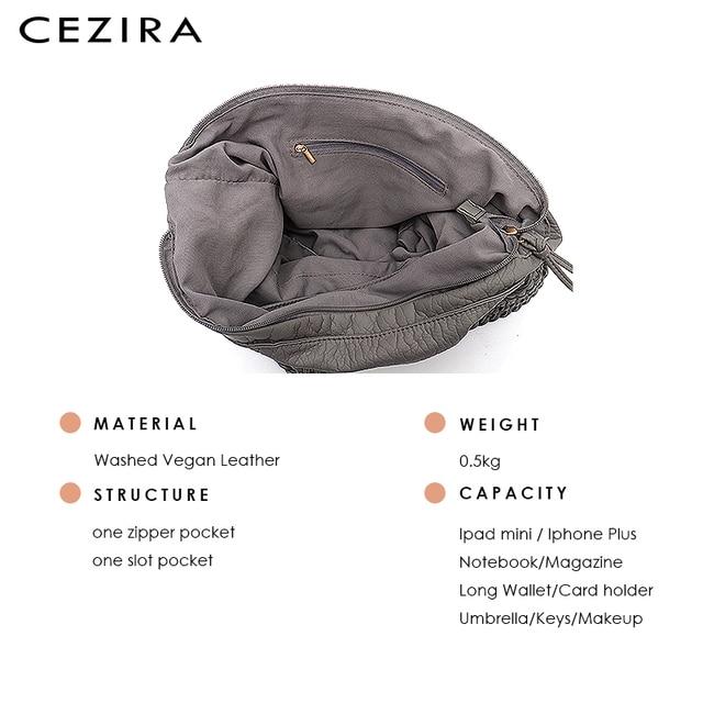 CEZIRA Big Soft Casual Women Bags Girl Wash PU Leather School Handbag Ladies Adjustable Woven Buckle Belt Messenger&Shoulder Bag 5