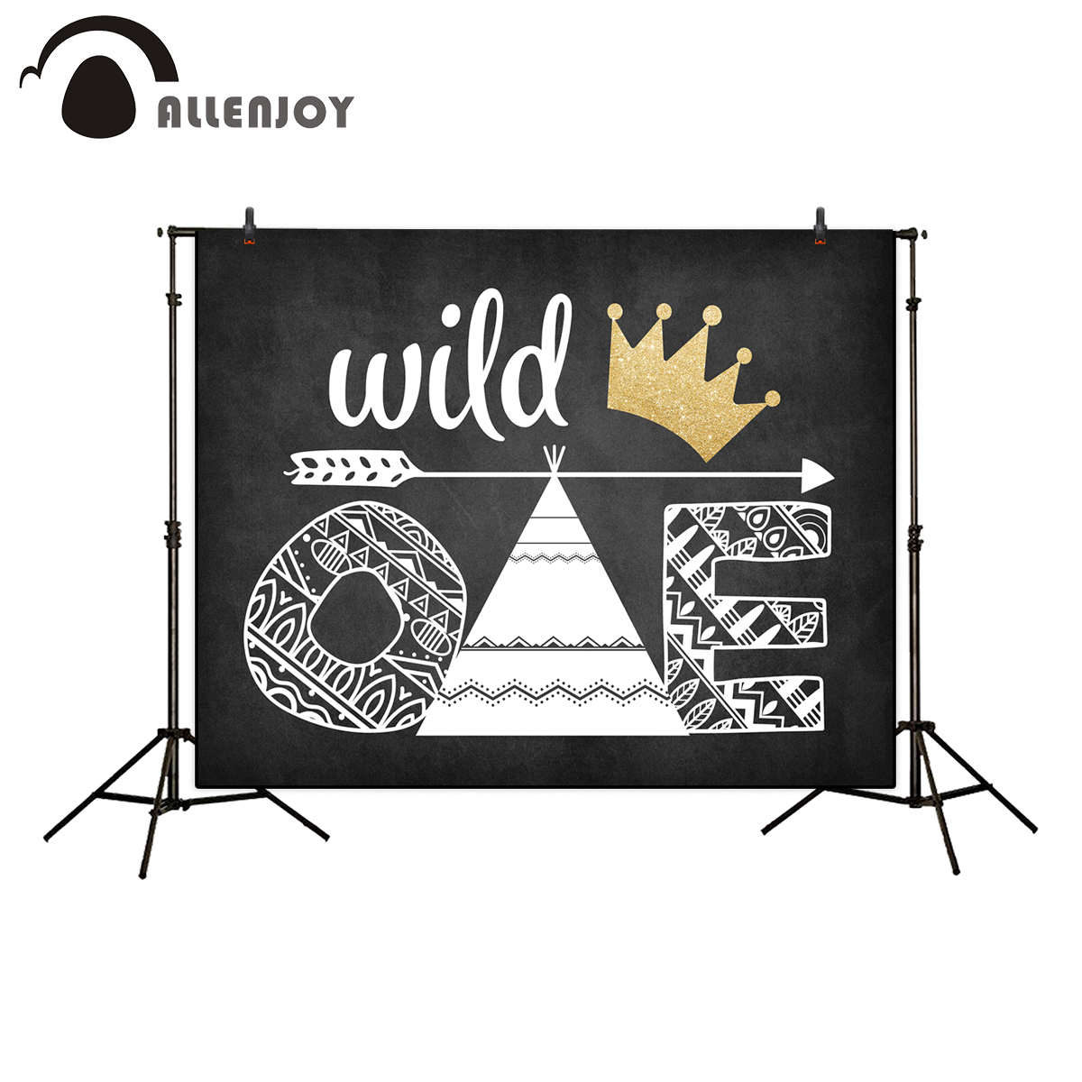Allenjoy photography backdrop Blackboard Golden crown Wild One Birthday children's photographic backgrounds studio new photocall a backdrop christmas backgrounds new year noel golden tree gift ball xmas photocall vintage fond newborns