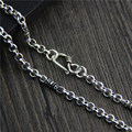 jewelry wholesale S925 Sterling Silver Vintage Silver Vajra O shaped Necklace sweater chain chain with men and women