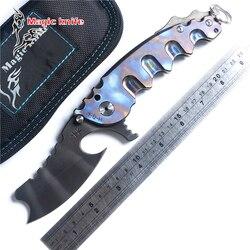 Magia Chav niestandardowe duże stalowe łożyska kulkowe składany nóż tytan Camping survivalowe noże myśliwskie odkryty EDC narzędzia mężem wojny