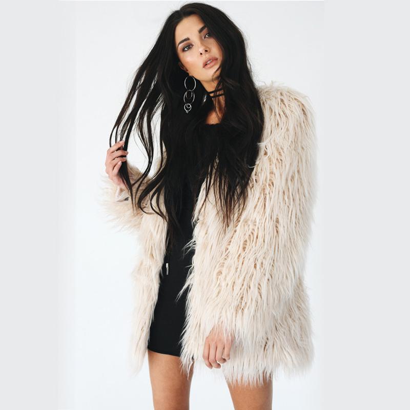 8363b7df910 2019 Plus Size 3XL Faux Fur Coat Women Fluffy Warm Plush Oversized ...