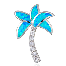 Fantastic coconut tree design 925 sterling silver necklace pendant blue fire opal zircon jewelry for women SP5