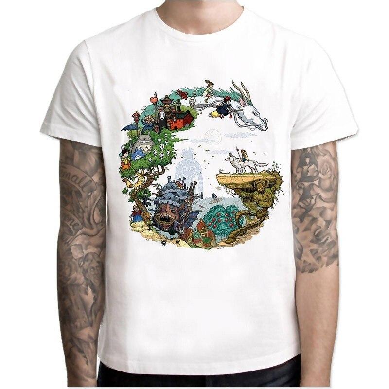 Japanese Anime Totoro   Shirt   Men Studio Ghibli Miyazaki Hayao Anime Spirit Away   T     Shirt   Men Women Cartoon Clothes Summer   T  -  Shirt