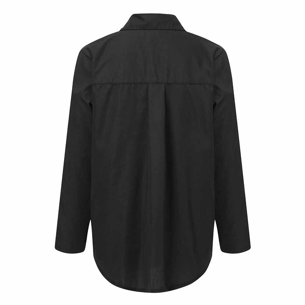 الصيف النساء قمصان عارضة طويلة الأكمام بدوره إلى أسفل طوق بلوزة أعلى الأزياء الصلبة مكتب السيدات الشيفون قميص زائد حجم قميص جديد