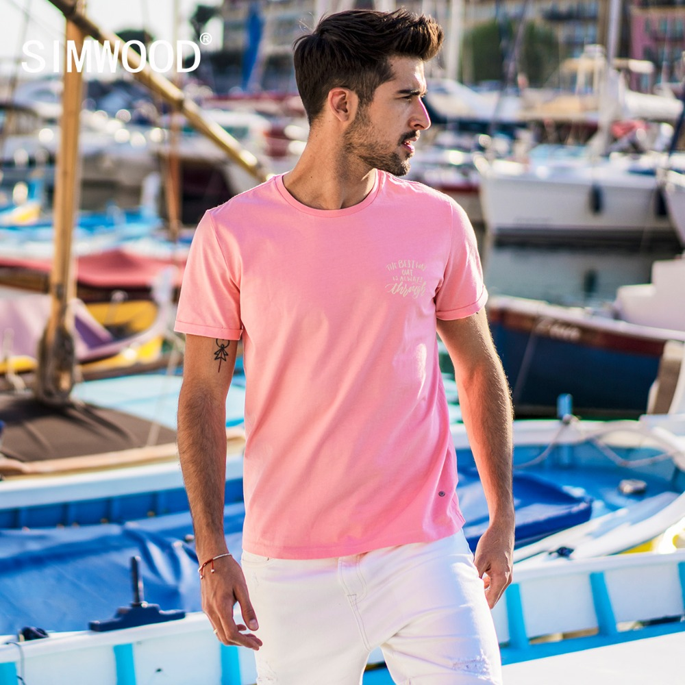 064014ae9f65d SIMWOOD 2019 Summer New T Shirt Men Slim Fit Fashion Casual Cotton Plus  Size Tops Brand Clothing Tees High Quality 180271