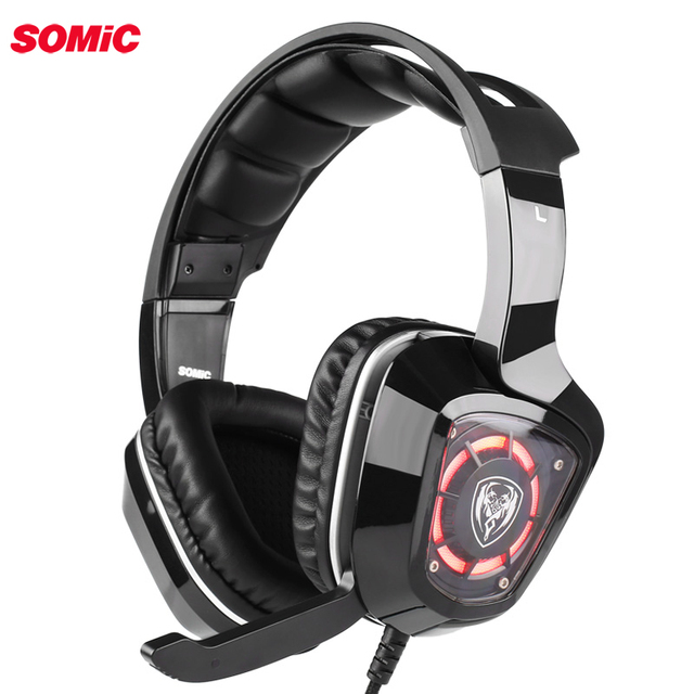 SOMiC G910i Gaming Headset virtual 7.1 Surround Sound Vibration USB earphone headphone with Mic Bass LED light for PC Laptop
