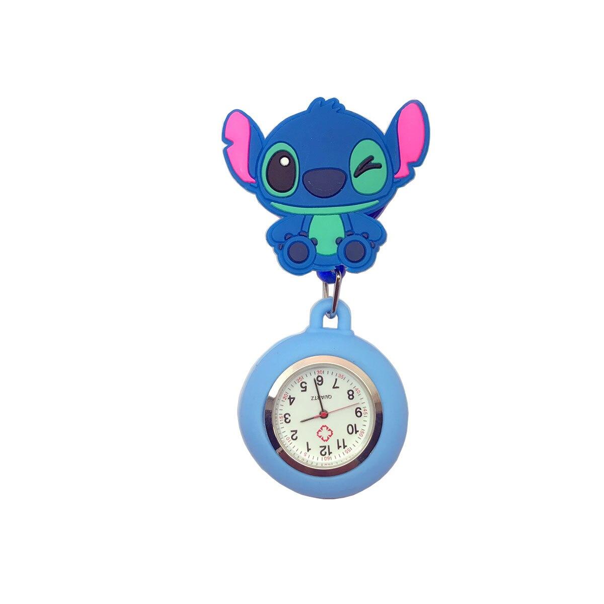 lovely cartoon animal design scalable soft rubber nurse pocket watch
