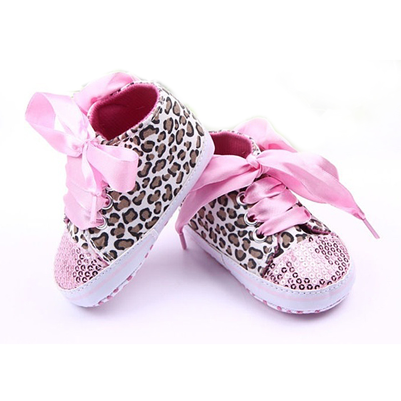 New Infant Toddler Leopard Sequins Sneakers Baby Girls Soft Sole Crib Shoes 9-12 Months 13cm pink