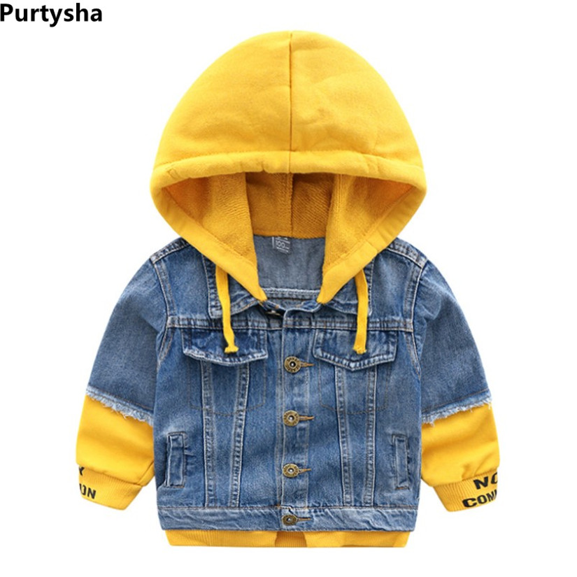 Boys Girls Denim Jacket 2019 New Autumn Baby Cartoon Knitting Hooded Outerwear Kids Jacket Coat Children Clothing 2-10 YearsBoys Girls Denim Jacket 2019 New Autumn Baby Cartoon Knitting Hooded Outerwear Kids Jacket Coat Children Clothing 2-10 Years