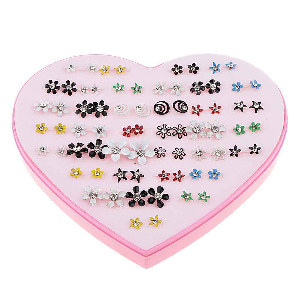 36 Pairs Resin Rhinestone Crystal Assorted Shape Flower Ear Stud Fashion Charms Jewelry