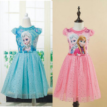 Cool 2016 New Arrived Anna Elsa Girls Princess Children Dress Kids Party Vestidos Cosplay Dresses Summer Style Dresses DCR38