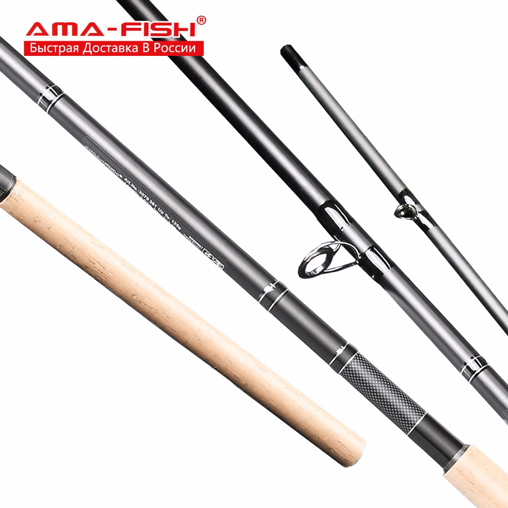 AMA-Fish 100% Original Spinning Rod 3.6m Lure Rod 3+3 Sections Carbon Rods Lure Weight Up To 125g Spinning Fishing Rod башпласт