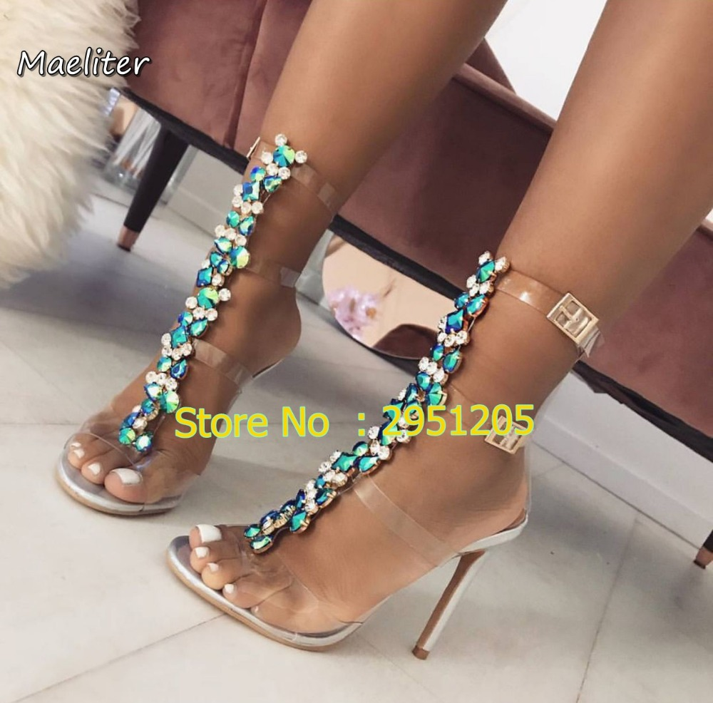 Latest Women Open Toe T Strap Gold Silver gladiator Sandals Crystal  Transparent Clear High Heel bling bling diamonds Party Shoes-in High Heels  from Shoes on ... 9cd0c3db0173