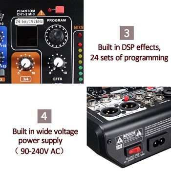 Leory Mini Portable Mixer 8 Channels USB Digital DJ Mixer With PAD Switches DSP Effect  5