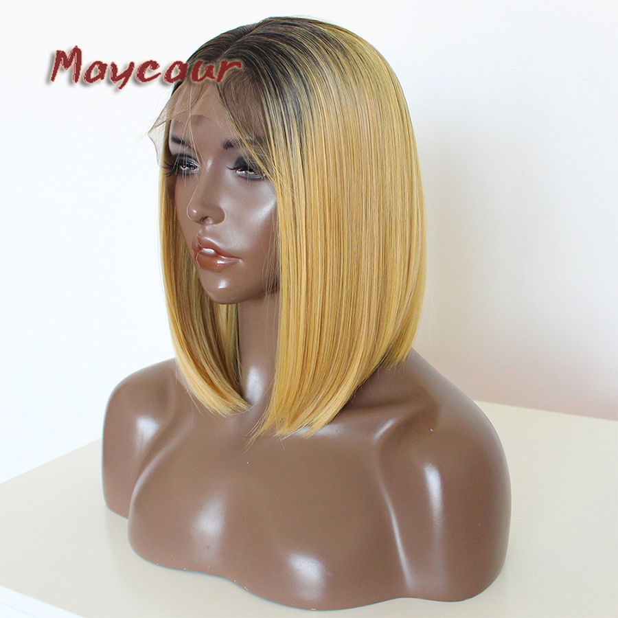Maycaur Blonde Soft Silky Straight Short Bob Wigs Heat Resistant Synthetic Lace Front Wigs For Black Women With Baby Hair
