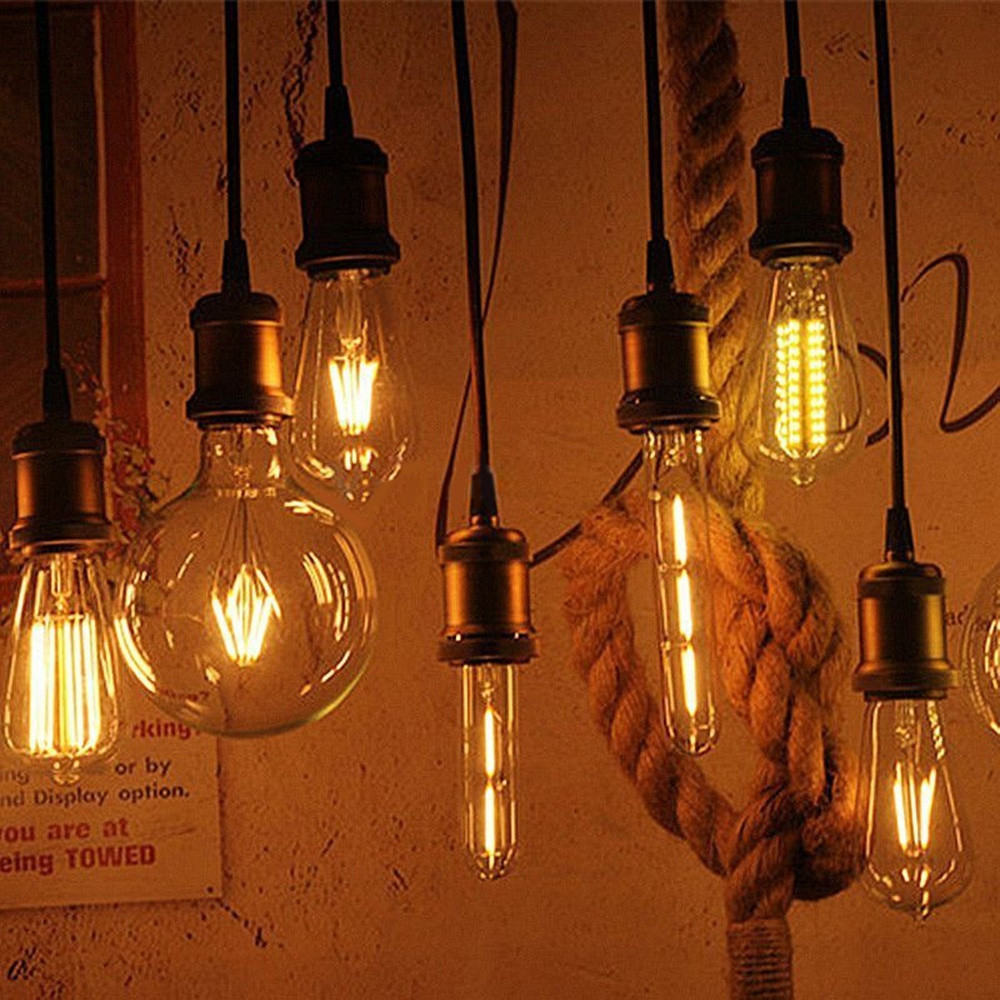 COB LED Filament Light Bulb Pendant Bulb Light 2W 4W 6W 8W E27 + E27 Retro Edison Lamp Base Screw Socket Base high brightness 1pcs led edison bulb indoor led light clear glass ac220 230v e27 2w 4w 6w 8w led filament bulb white warm white