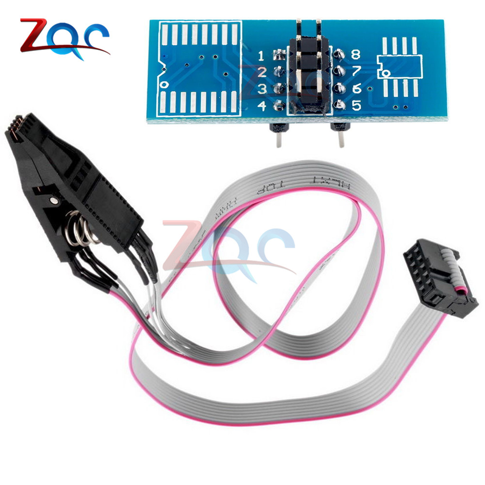 SOIC8 SOP8 DIP8 Format Flash Chip IC Test Clips Socket Adpter BIOS 24 25 93 USB Programmer Programable TL866CS TL866A EZP2010 programmer testing clip sop8 sop soic 8 soic8 dip8 dip 8 pin bios 24 25 93 flash chip ic socket adpter test clamp
