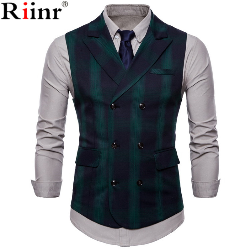 Riinr 2019 Men Vest Red Plaid Vest Single Breasted V-neck Collar Casual Style Slim Fit Wedding Party Wear Plus Size Vest Men