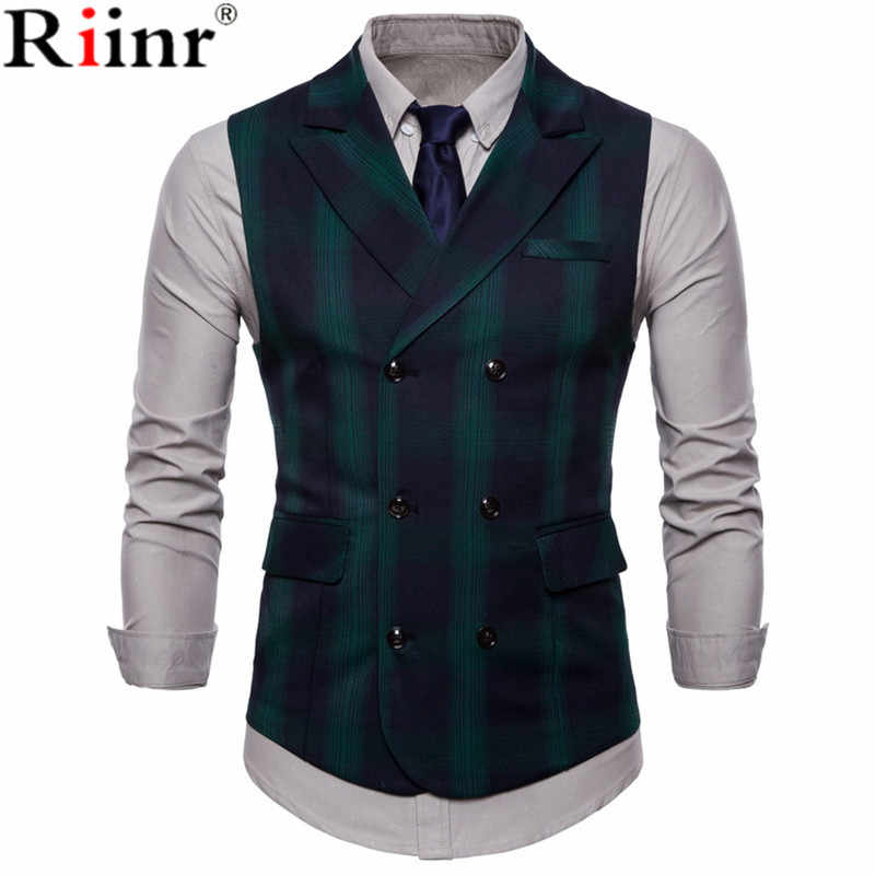 Riinr 2019 Mannen Vest Rode Plaid Vest Enkele Breasted V-hals Kraag Casual Stijl Slim Fit Wedding Party Wear Plus Size vest Mannen
