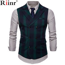 Riinr 2019 Men Vest Red Plaid Vest Single Breasted V-neck Collar Casual Style Slim Fit Wedding Party Wear Plus Size Vest Men(China)