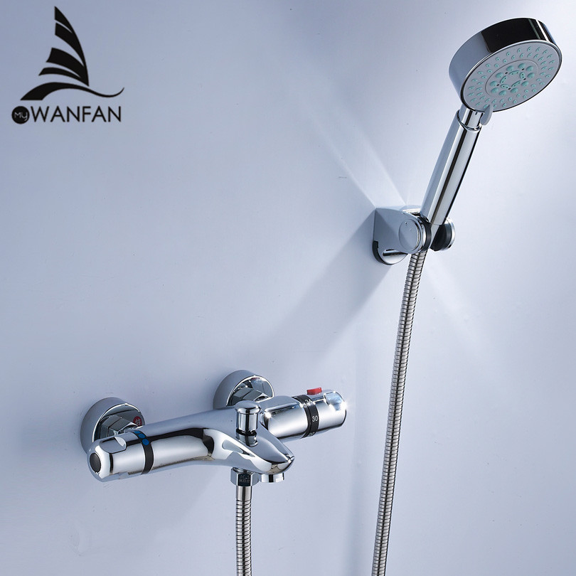 Shower Faucets Brass Chrome Silver Bathroom Thermostatic Shower Faucet Handheld Wall Mount Bathtub Shower Mixer Tap Set WF-18047 polished chrome wall mount temperature control shower faucet set brass thermostatic mixer valve with handshower