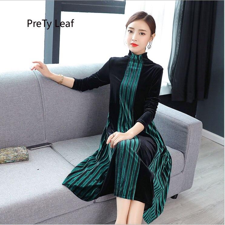 3de84b1e8 Comprar Europa y los Estados Unidos 2018 otoño nueva moda temperamento alto  cuello vertical rayas oro terciopelo vestido femenino Online Baratos