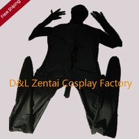 Free Shipping DHL Adult Black Zentai Lycra Catsuit Fullboby Sexy Suit With Penis Cover A025