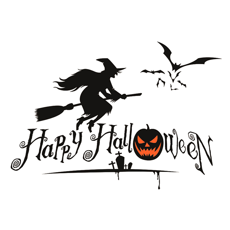 happy halloween pumpkins spooky cemetery witch and bats tomb wall decals window stickers halloween decorations free shipping