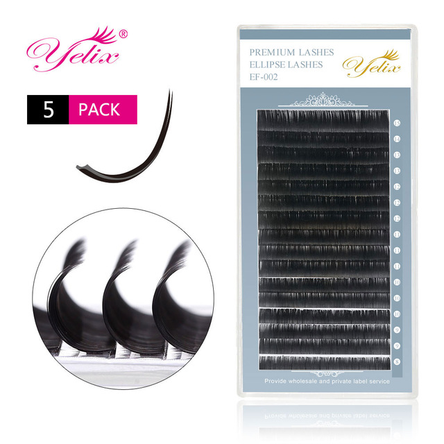5 Pack/ Lot Individual False Flat Eyelash Extension Split-tip Ellipse Eyelashes Extensions Natural Lashes Extensions Mink Lash