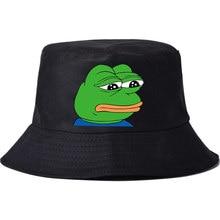 2018 nuevos hombres sombrero de pescador sombrero de Sol caliente Rana  triste impresión Panamá capuchón Chapeau algodón verano c. d37b5fd43e4