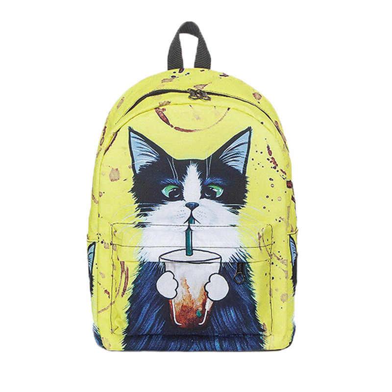 Сумка аксессуар 2018 милый кот рюкзак школьные женские рюкзаки для девочек Забавные кошки Холщовая Сумка на плечо Прямая поставка <= 487g37