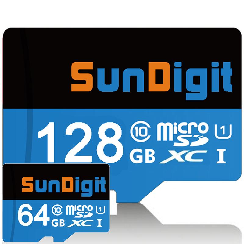Prix pour Marque Scellé SunDigit Haute Qualité 128 GB 64 GB Carte Micro Sd Class10 SDXC Haute Vitesse jusqu'à 60 MB/s TF Cartes 128 GB Mémoire carte