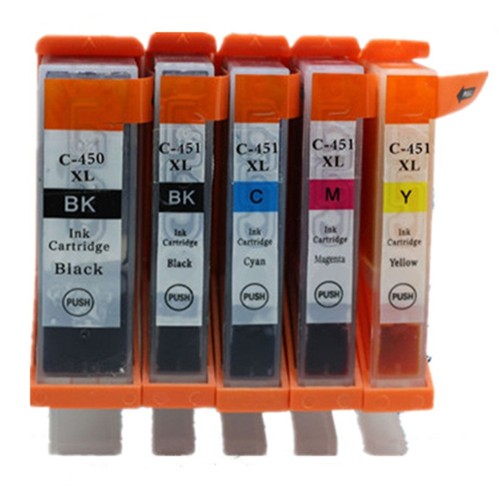 1 Set 5 Pk PGI-450 CLI-451 PGI-450XL PGI 450 450XL Ink Cartridges For Canon Pixma MG5440 MG5540 MG6440 Ip7240 Inkjet Printer