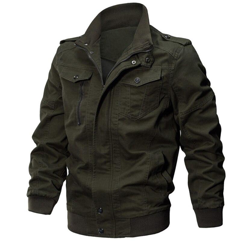 2019 Winter Mens cotton Military Jacket Army Pilot Bomber Jacket Solid color Tactical Coat Jaqueta Masculina Plus Size M~6XL