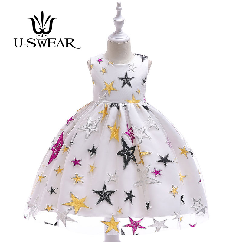 U-SWEAR 2019 New Arrival Kid   Flower     Girl     Dresses   O-neck Sleeveless Star Embroidery Sequined Chiffon Ball Gown Vestidos