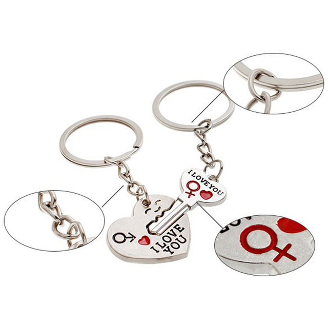 1 Pair Couple I LOVE YOU Letter Keychain Heart Key Ring Silvery Lovers Love Key Chain Souvenirs Valentine's Day Jewelry Gifts 1
