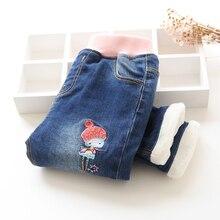 Новинка, модные утепленные джинсы для девочек на осень и зиму, детские джинсы с вышивкой, джинсы, детские зимние брюки с эластичным поясом, теплые брюки